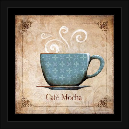 Traditional Ornate Café Mocha Coffee Cup Kitchen Painting Blue ...