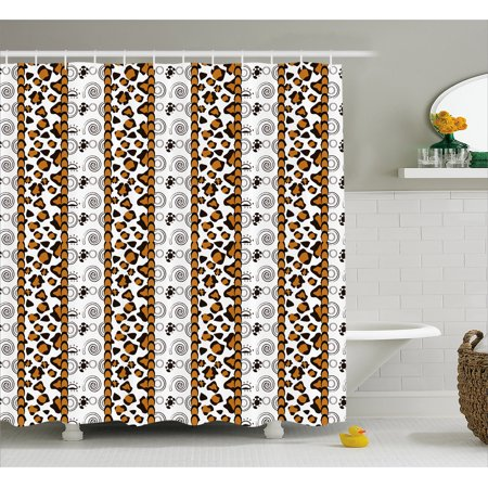 Zambia Shower Curtain Cheetah Leopard Skin Pattern With Wildlife Featured Spirals Illustration Fabric Bathroom