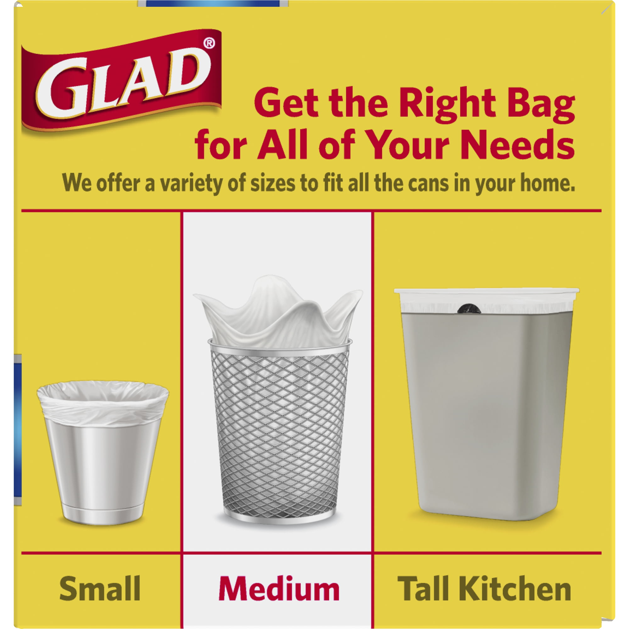 Glad Medium Quick Tie Trash Bags Forceflex 8 Gal White Trash Bag Unscented 26 Ct
