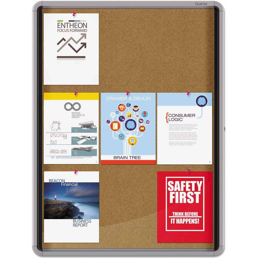 "Quartet Enclosed Cork Bulletin Board with Swing Door, 30"" x 39, Silver Aluminum Frame"