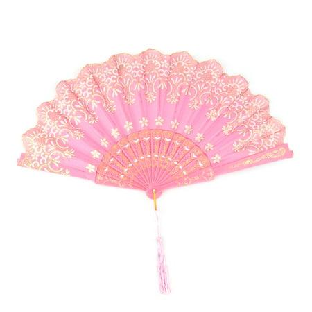 Flower Fan (Women Dancing Polyester Flower Print Tassel Decor Hand Cooling Folding Fan)