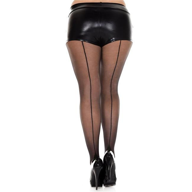 Music Legs 7096Q-BLACK-BLACK Plus Size Cuban Heel Spandex Pantyhose - Black & Black - image 1 of 1