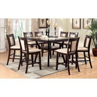 Furniture of America Mullican 9 Piece Counter Height Display Top Ivory Dining Set