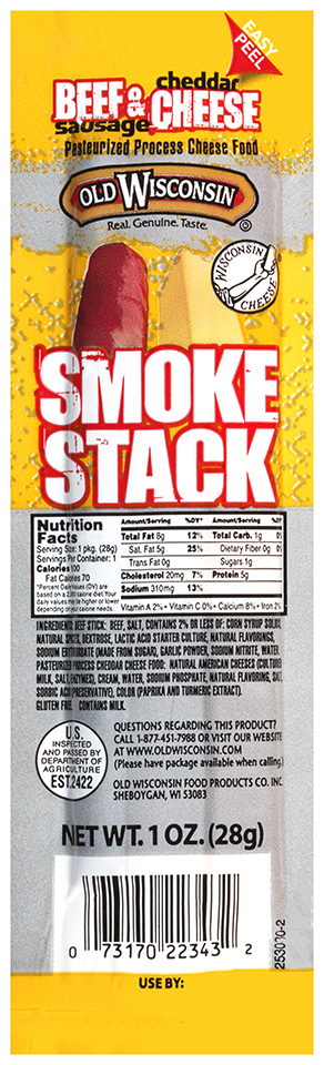 Old Wisconsin Smoke Stack Beef Sausage & Cheddar Cheese 1 oz. Pack by Old Wisconsin Food Products Co. Inc.