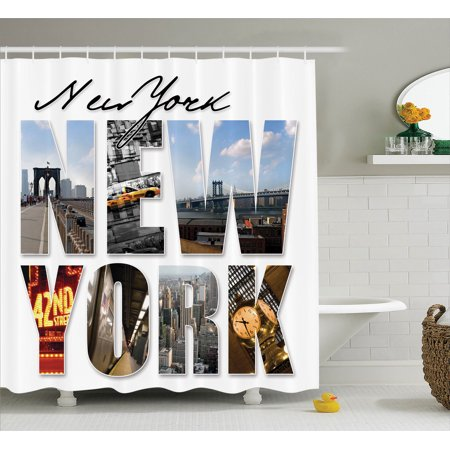 Nyc decor shower curtain set new york city themed collage for New york city bathroom decor