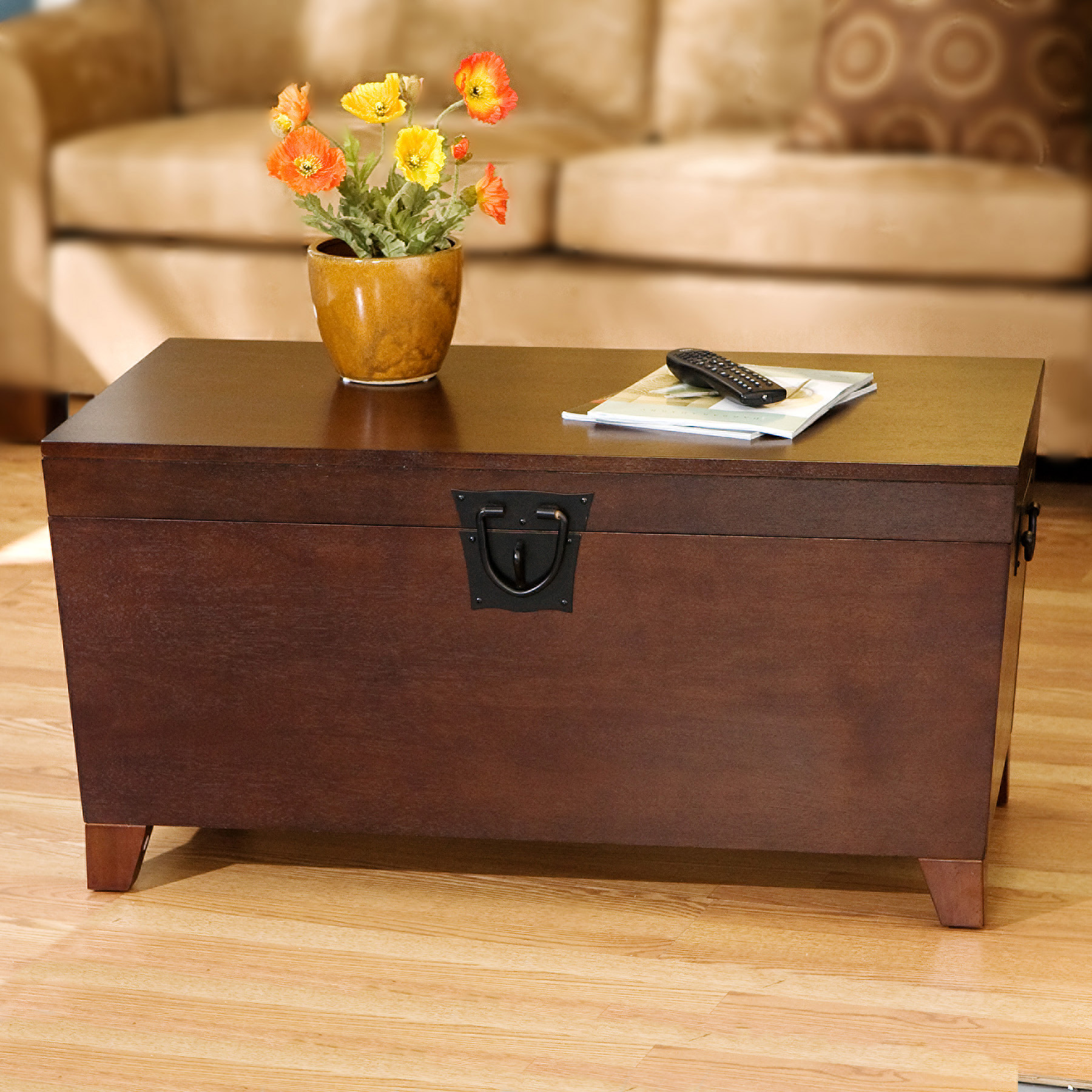 Southern Enterprises Pyramid Trunk Coffee Table, Mission Style, Multiple Finishes