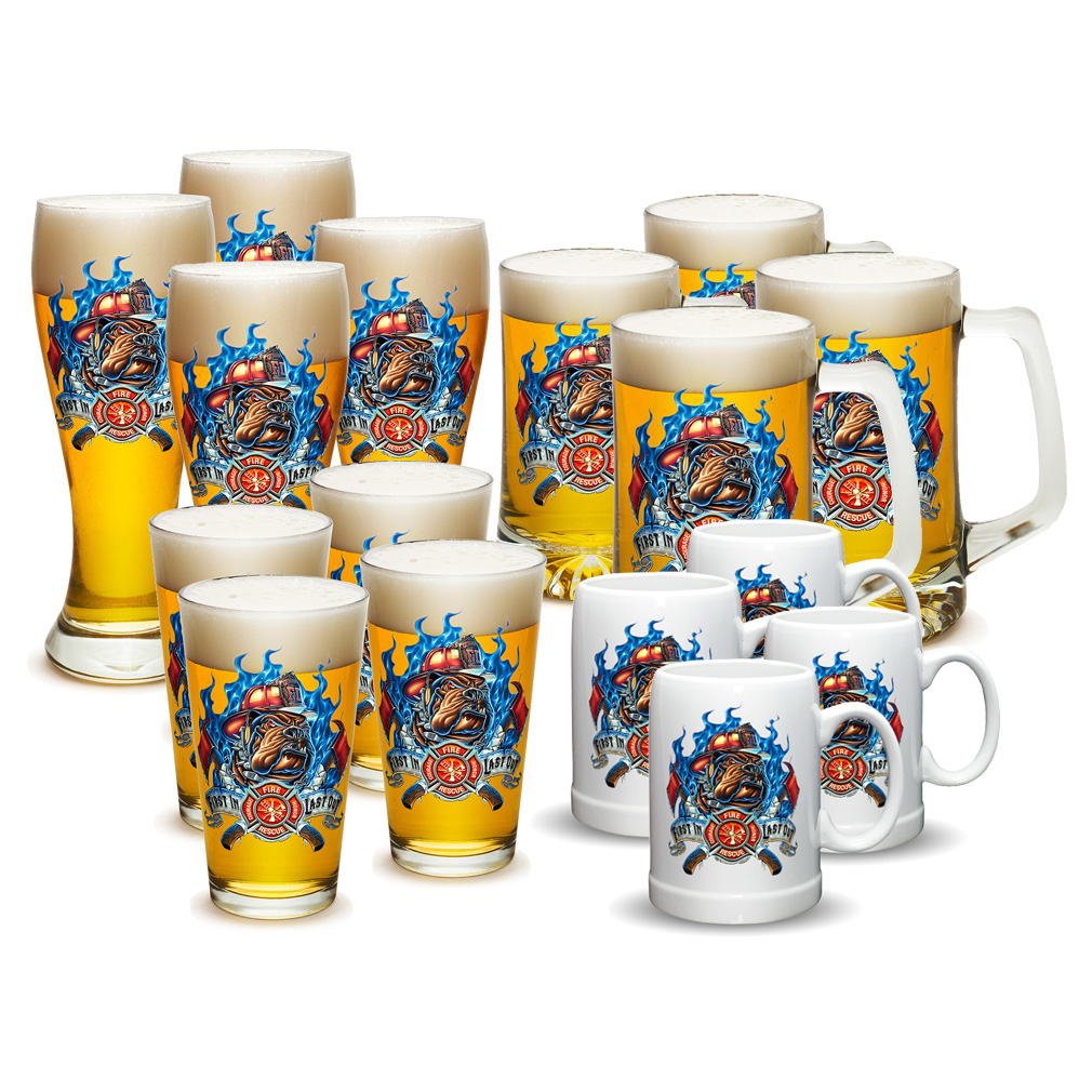 Firefighters Fire Rescue First In Last Out Pub Glass/Stein Mug/Beer Mug Set