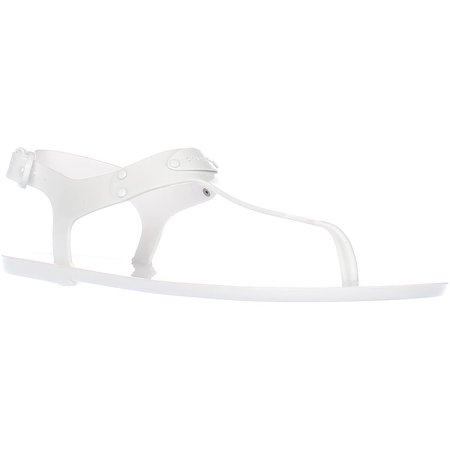 Womens MICHAEL Michael Kors MK Plate Jelly Thong Sandals, Optic