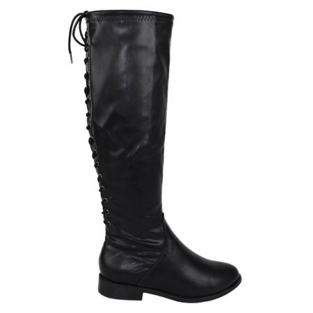 Pu Women Boots (Liquid Black PU Leather Faux City Classified Women Flat Boots Side Zipper Back Lace Up Style Knee High 6)