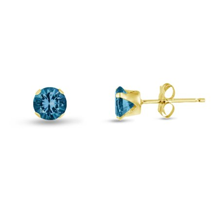 Round 2mm 14k Gold Plated Sterling Silver Simulated Blue Zircon Stud Earrings, Free Gift Box included