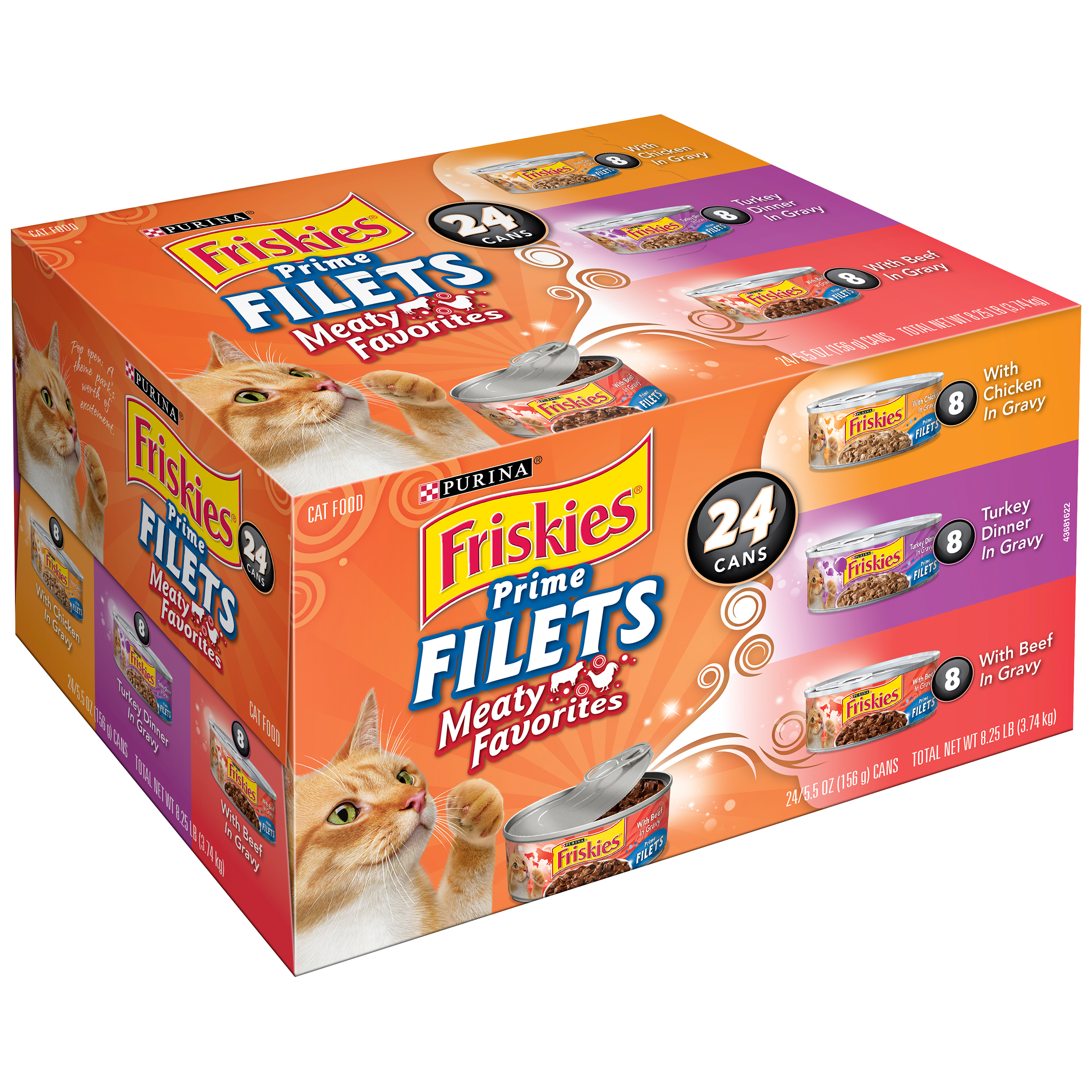 Purina Friskies Prime Filets Meaty Favorites Cat Food Variety Pack 24-5.5 oz. Cans