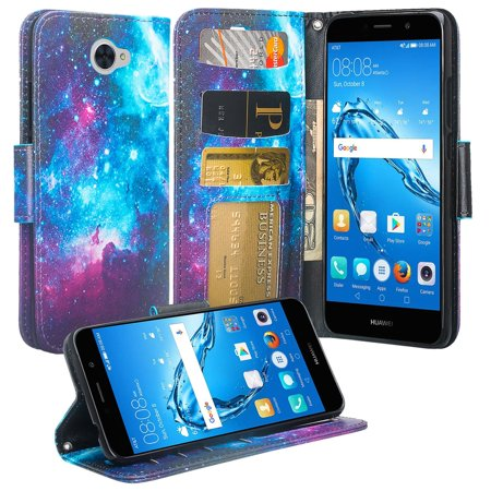 Huawei Ascend XT 2 Case, Huawei Elate 4G Case, H1711, Slim Magnetic Flip Fold [Kickstand] Pu Leather Wrist Strap Wallet Cover w/ Slots - Starry Cosmos (Huawei Ascend Mate 2 Wallet Case)