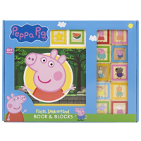 Peppa Pig - 10 Wooden Blocks and Interactive First Look and Find Board Book Set - PI Kids
