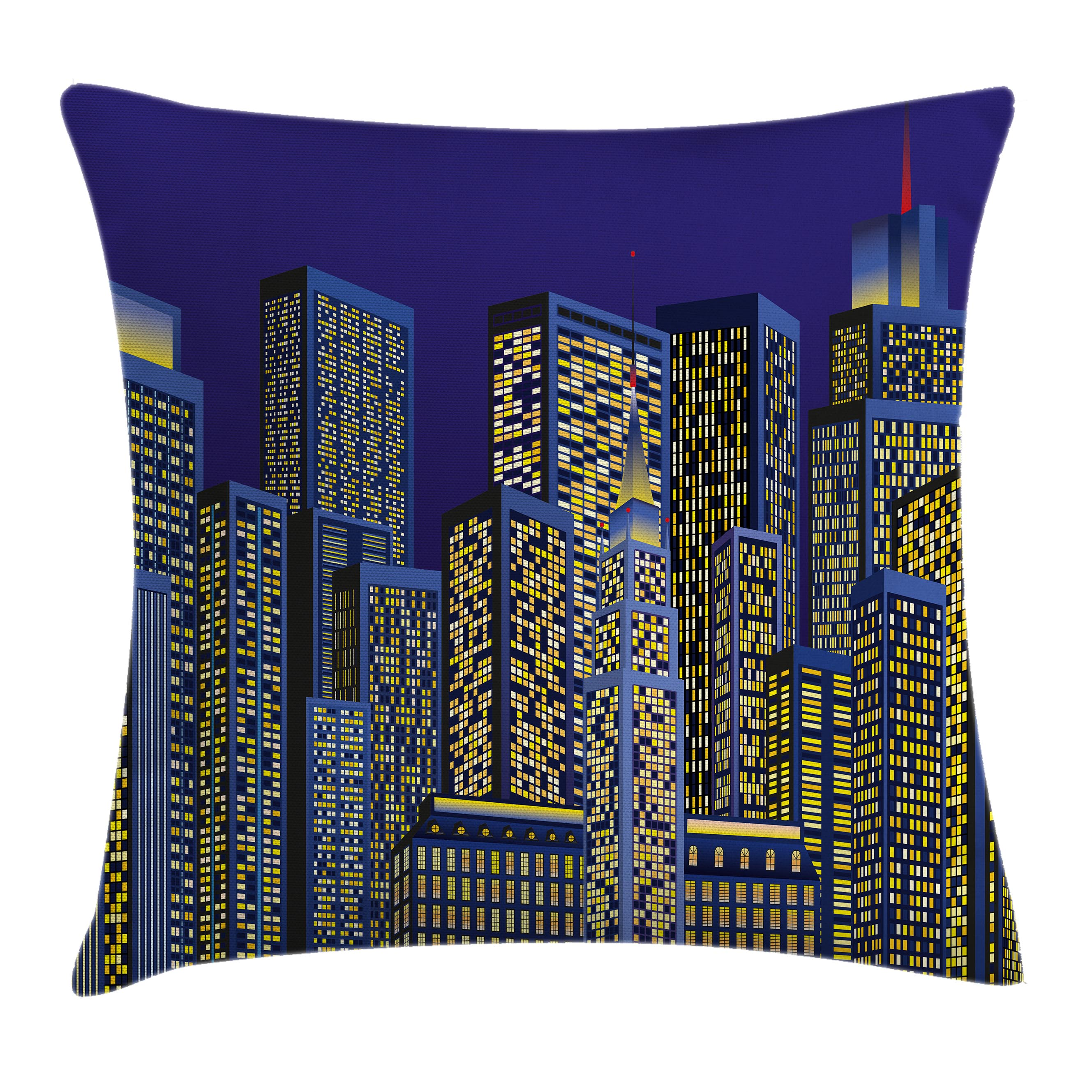 Digital Throw Pillow Cushion Cover, Cartoon Design Cityscape with Square Light Seemed Image Kids Room Artwork, Decorative Square Accent Pillow Case, 16 X 16 Inches, Dark Blue and Yellow, by Ambesonne