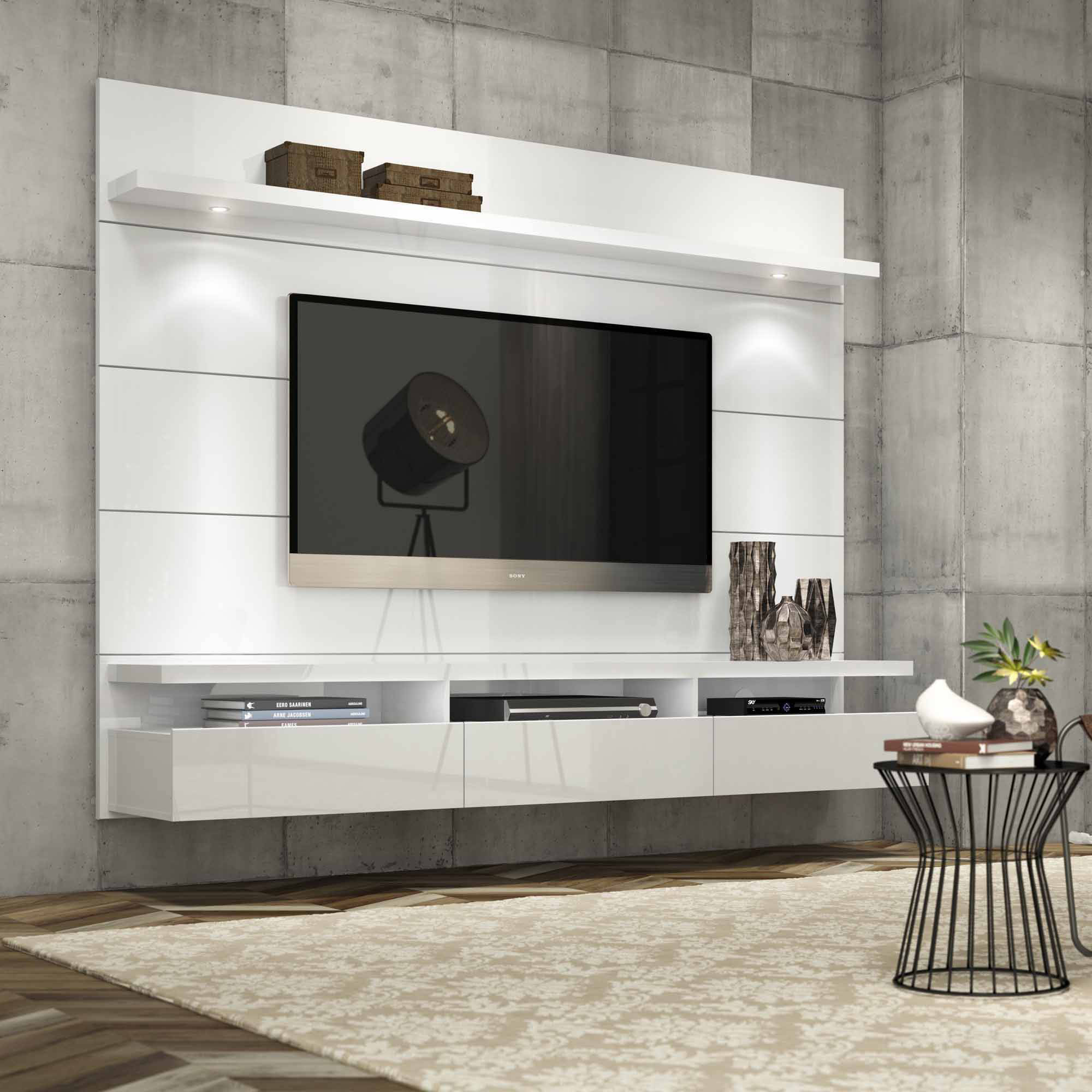 Manhattan Comfort Cabrini 1 8 Floating Wall Theater Entertainment Center For Tvs Up To 60 Multiple Colors