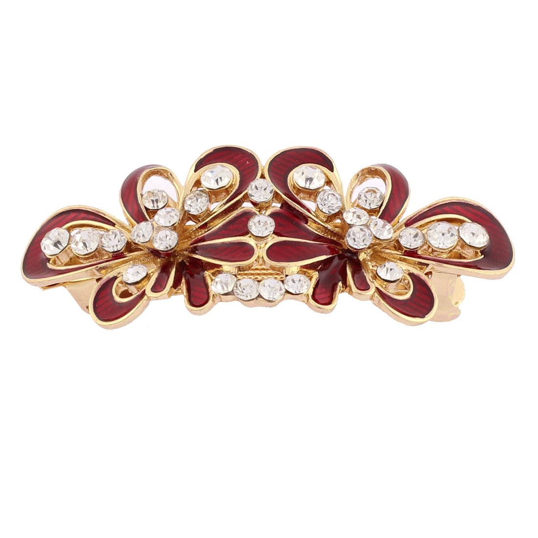 Lady Rhinestone Inlaid Flower Design French Barrette Hair Clip Gold Tone Red