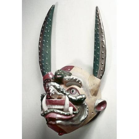 Bolivia Native Mask Ndevil Dance Mask Made By Native Bolivians Rolled Canvas Art -  (24 x 36) Native Art Masks