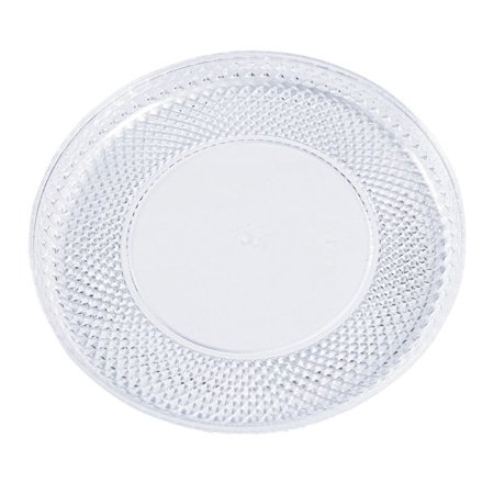 Premium Round Plastic Serving Tray with Diamond Cut Edging - Large ()
