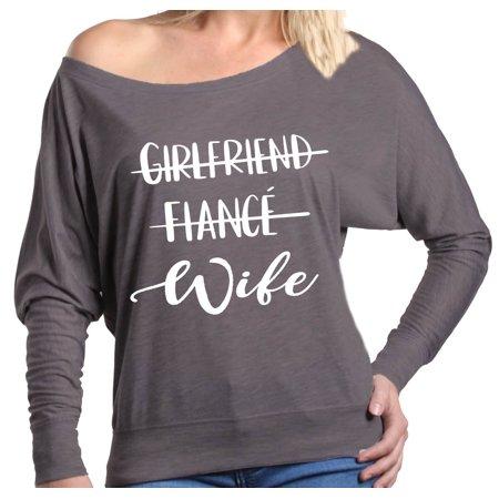 Shop4Ever Women's Girlfriend Fiance Wife Wedding Off Shoulder Long Sleeve (Off The Shoulder Long Sleeve Mermaid Wedding Dress)