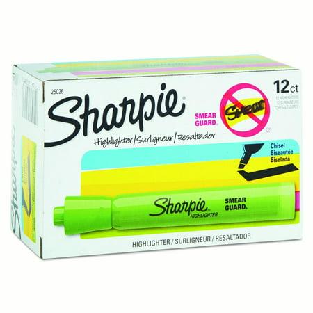 Sharpie Accent Tank Style Highlighter  Chisel Tip  Fluorescent Green  Dozen