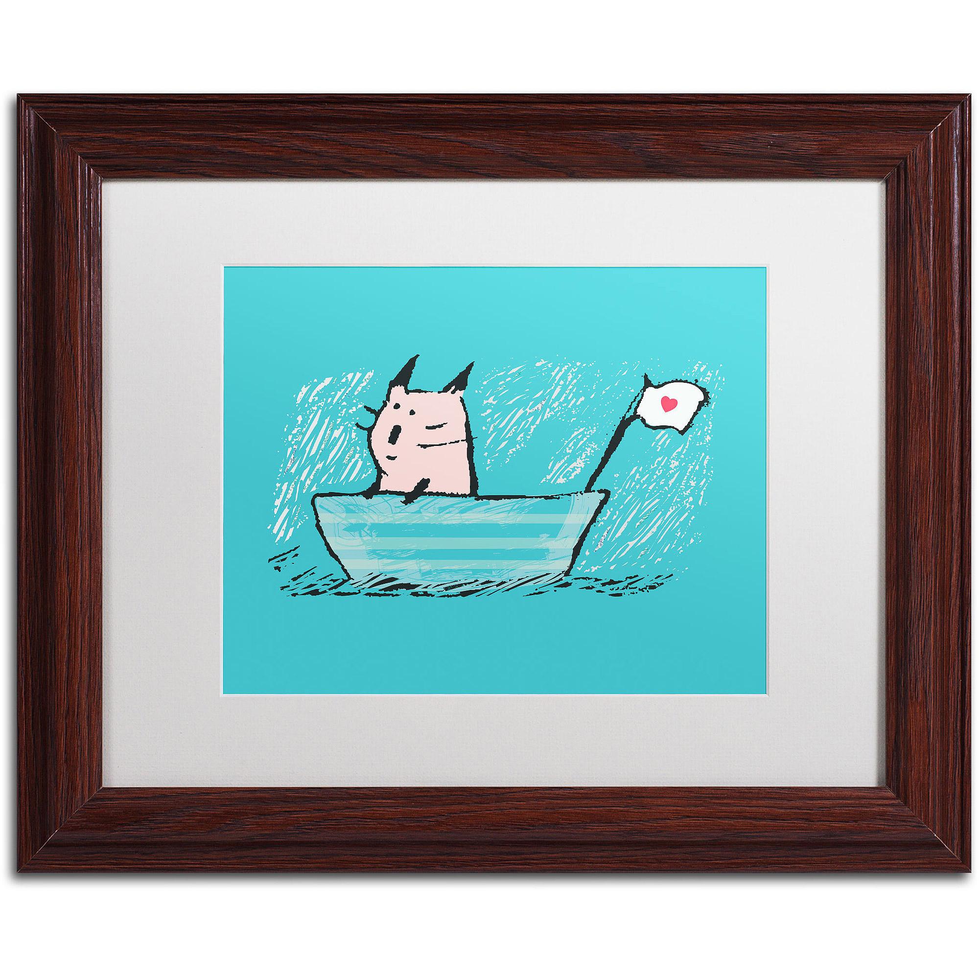 "Trademark Fine Art ""Sweet Sailor Cat"" Canvas Art by Carla Martell, White Matte, Wood Frame"
