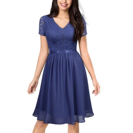 MIUSOL Women's Formal Evening Cocktail Party Swing Dress,Vintage Floral Lace V-Neck Short Sleeve Wedding Bridesmaid Dress(3 Colors:Navy