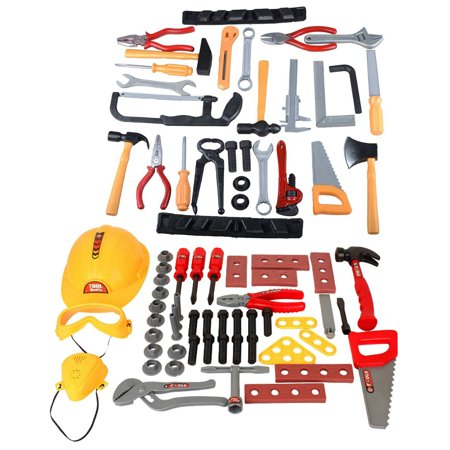 Toy Tool Set 80 Pieces Kids Construction Hard Hat with Pretend Play Safety Accessories Set - Kids Play Hard Hat