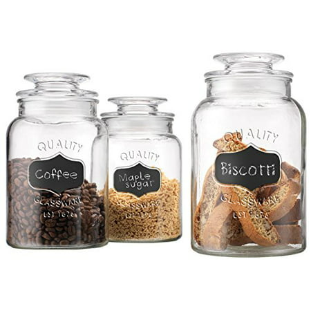 Set of 3 Round Clear Apothecary Glass Canister Jars with Chalkboard with Tight Lids for Kitchen or Bathroom ~ Food,cookie,cracker, Storage Containers (Glass Cookie Canister)