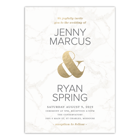 Personalized Gold Seal (Personalized Wedding Invitation - Classic Marble - 5 x 7)