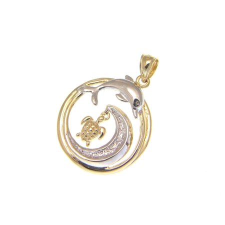 14k solid yellow white gold Hawaiian 20.50mm ocean wave dolphin turtle pendant