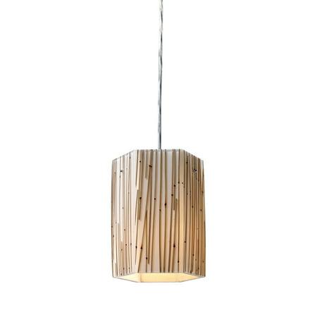 Modern Organics 1-Light Mini Pendant in Chrome with Bamboo Stem Shade