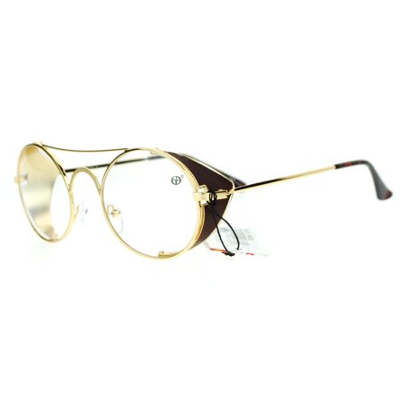 14ef96a8a3 SA106 Vintage Style Retractable Side Visor Round Oval Clear Lens Eye Glasses  Gold - Walmart.com