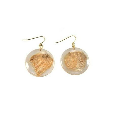 Image of Alexa Starr 4274-E Goldtone Gold Fleck Lucite Disc Drop Earrings