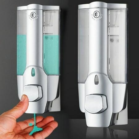 350ml Wall Mounted Manual Pump Bath Soap Dispenser Sanitizer Bathroom Shower Shampoo Lotion Pump with Transparent Window White.Chrome