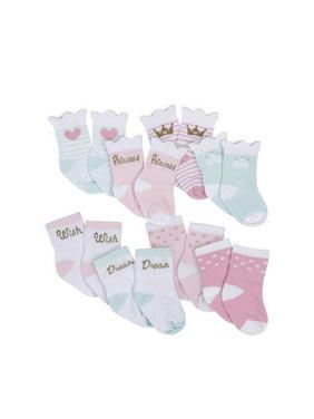 Gerber Baby Girls Wiggle-Proof Jersey Crew Socks, 8-Pack