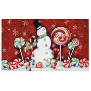Candy Cane Snowman Door Mat