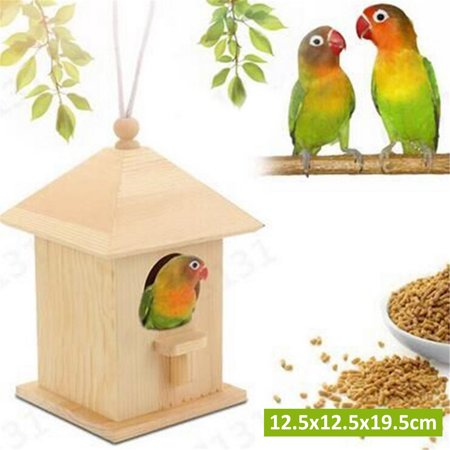 5x5x8inch Wooden Bird Aviary Cage Box Bird Parrot breeding Box Hanging Garden Yard Decoration  for The Bird cage or Aviary Bird cage Accessories Bird House - image 1 de 1