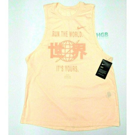 Nike Dri Fit Running Division Tank Top Womens Peach Training Gym 910978-814 NWT Nike Dri Fit Girls Top