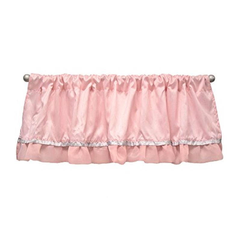 The Peanut Shell Baby Girl Window Valance Pink and White Arianna Valance by Farallon Brands