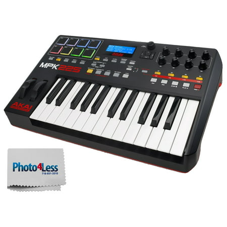 Akai Professional MPK225 | 25-Key USB MIDI Keyboard & Drum Pad Controller with LCD Screen (8 Pads / 8 Knobs), VIP Software Download Included + Bonus Photo4less Cleaning