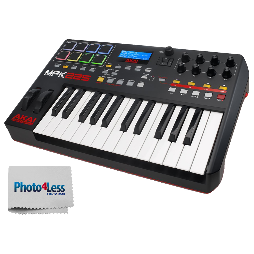 Akai Professional MPK225 | 25-Key USB MIDI Keyboard & Drum Pad Controller with LCD Screen (8 Pads / 8 Knobs), VIP Software Download Included + Bonus Photo4less Cleaning Cloth!