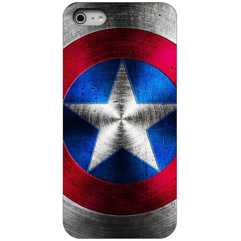 CUSTOM Black Hard Plastic Snap-On Case for Apple iPhone 5 / 5S / SE - Red White Blue Shield