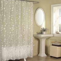 Excell Gray Ivy Pattern Clear Peva Shower Curtain - Silver