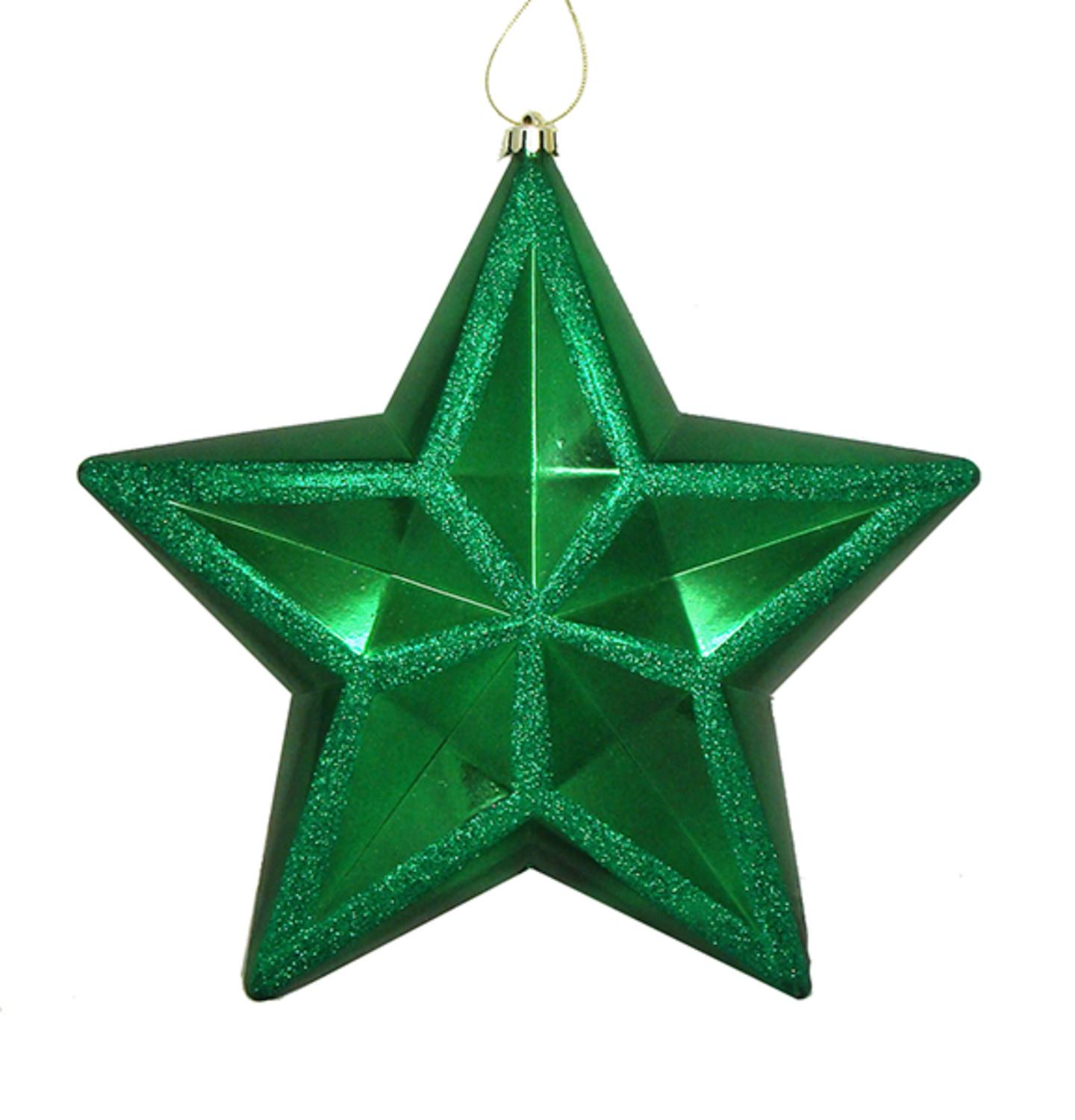 """12"""" Shiny Xmas Green Commercial Size Shatterproof Star Christmas Ornament"""