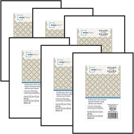 Mainstays 6x8 Matted To 4x6 Format Picture Frame Set Of 6 Walmart