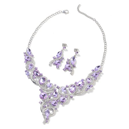 Amethyst Crystal Jewelry Set (Cubic Zirconia CZ Amethyst Purple and White Crystal Silvertone Earrings and Necklace for Women Jewelry Set Gift)