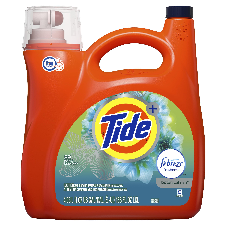 Tide Plus Febreze Freshness Botanical Rain HE Turbo Clean Liquid Laundry Detergent, 138 fl oz 89 loads