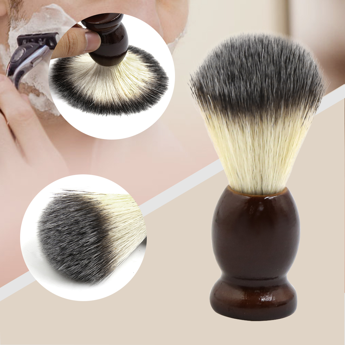 Brown Wooden Handle Soft Nylon Hair Wet Shaving Brush for Men