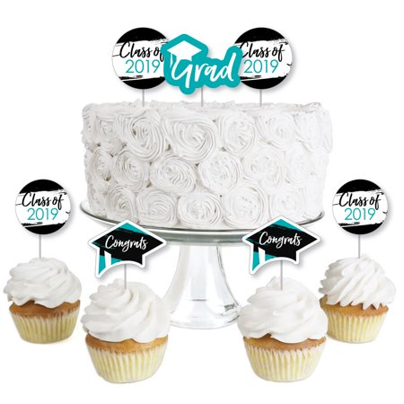 Teal Grad - Best is Yet to Come - Dessert Cupcake Toppers - Turquoise 2019 Graduation Party Clear Treat Picks - 24 Ct - Best Halloween Cakes And Cupcakes
