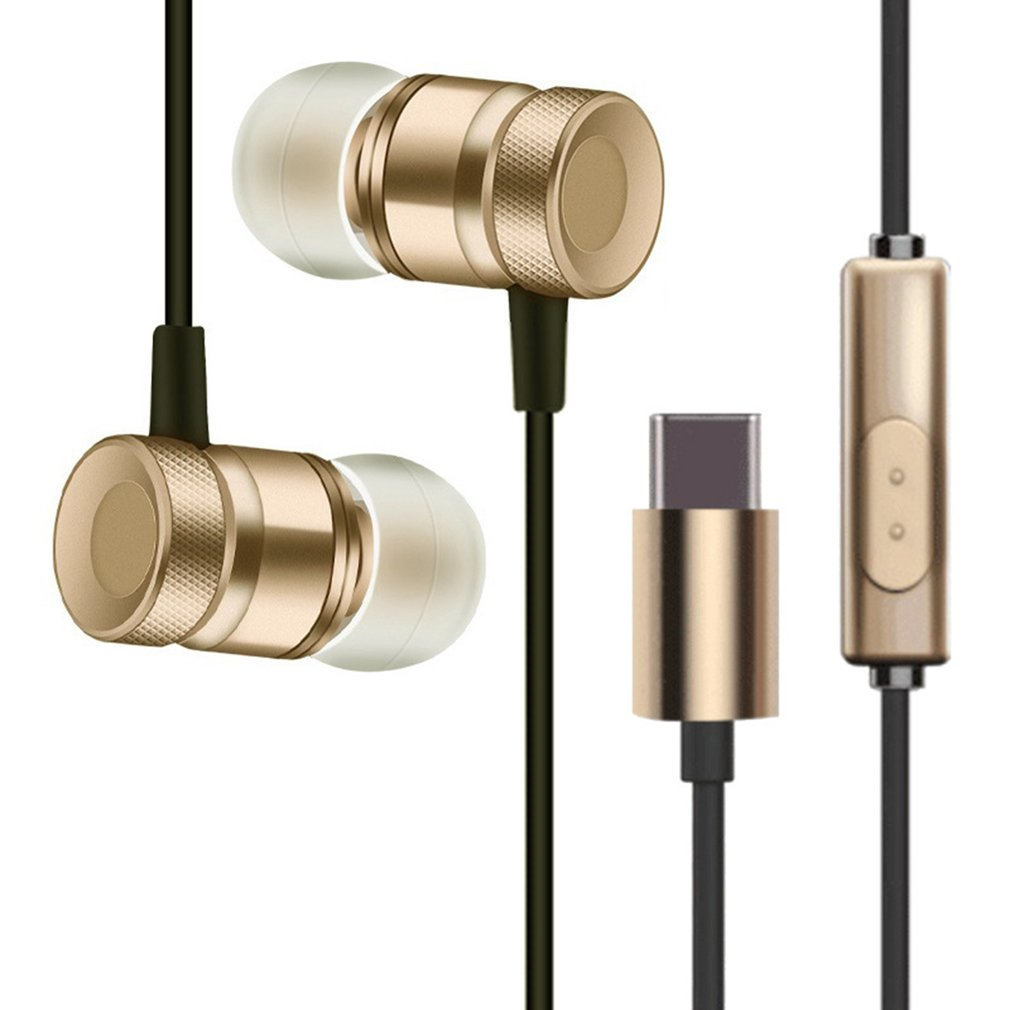 USB Type-C In-Ear Metal Earphone with Mic Wired Earphone Earbuds for Letv